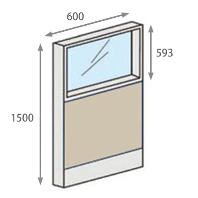 パーテーションLPX 上部ガラスパネル 高さ1500 幅600 ベージュ