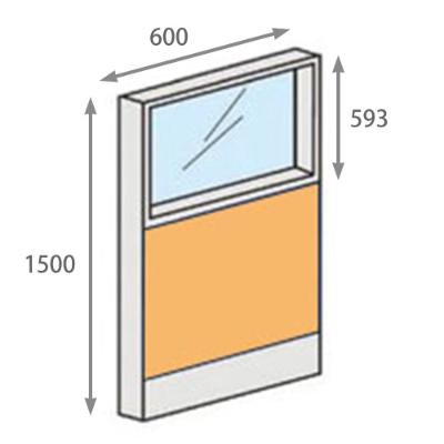 パーテーションLPX 上部ガラスパネル 高さ1500 幅600 イエロー