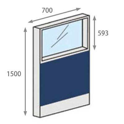 パーテーションLPX 上部ガラスパネル 高さ1500 幅700 ネイビー