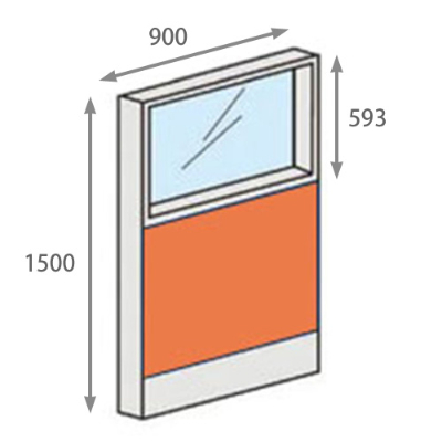 パーテーションLPX 上部ガラスパネル 高さ1500 幅900 オレンジ