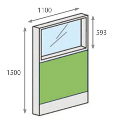 パーテーションLPX 上部ガラスパネル 高さ1500 幅1100 ライム