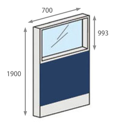 パーテーションLPX 上部ガラスパネル 高さ1900 幅700 ネイビー