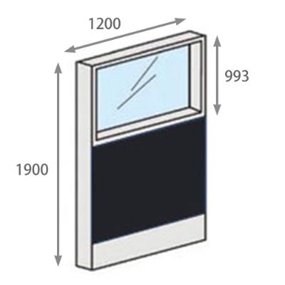 パーテーションLPX 上部ガラスパネル 高さ1900 幅1200 ブラック