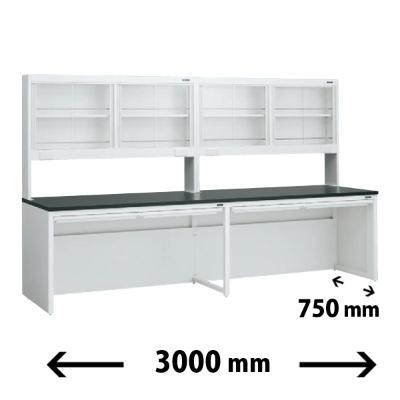 実験台 片面 ガラス戸上置棚タイプ 引出し付 幅3000 奥行き750