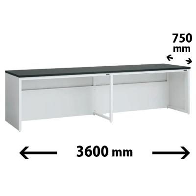実験台 片面 配線カバータイプ 幅3600 奥行き750