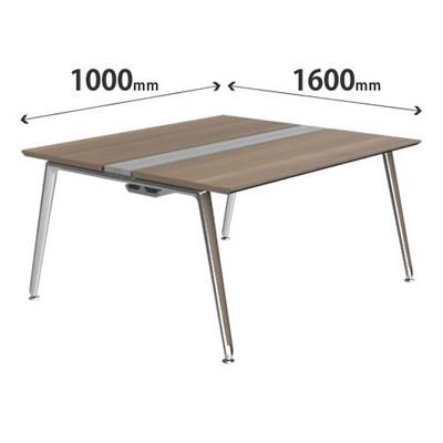 プリシード ユニットデスク 基本型 幅1000×奥行1600mm プライズウッドミディアム ポリッシュ脚
