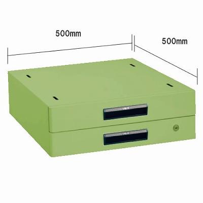 軽量作業台 奥行900mm用二段キャビネット グリーン
