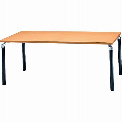 会議テーブル 幅1800 奥行900 アルミダイキャストブラック脚 メープル天板