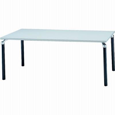 会議テーブル 幅1800 奥行900 アルミダイキャストブラック脚 ライトグレー天板