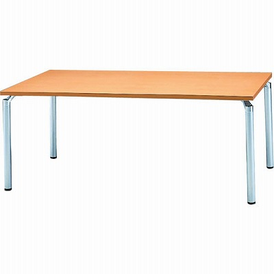会議テーブル 幅1800 奥行900 アルミダイキャストシルバー脚 メープル天板