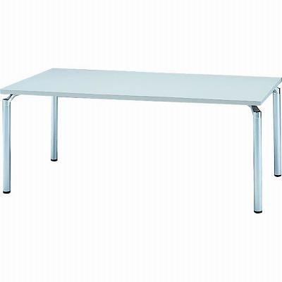 会議テーブル 幅1800 奥行900 アルミダイキャストシルバー脚 ライトグレー天板