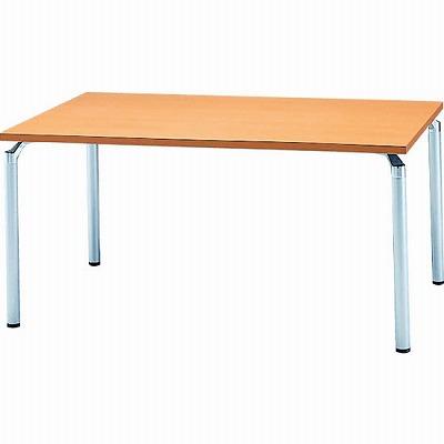 会議テーブル 幅1500 奥行900 アルミダイキャストシルバー脚 メープル天板