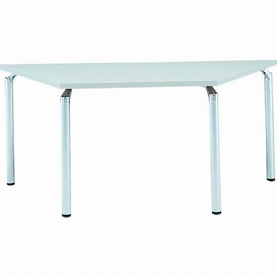 台形会議テーブル 幅1650 奥行715 アルミダイキャストシルバー脚 ライトグレー天板