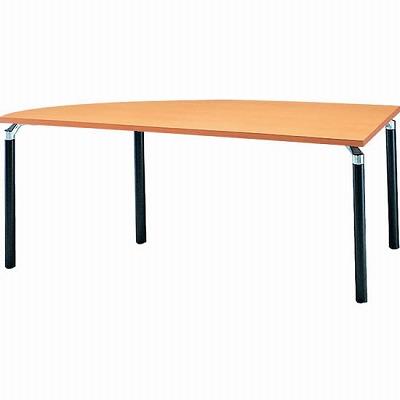 左変形会議テーブル 幅1800 奥行750 アルミダイキャストブラック脚 メープル天板