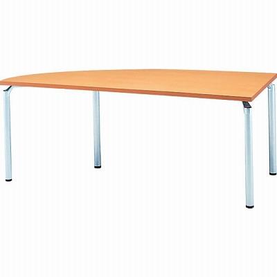 左変形会議テーブル 幅1800 奥行750 アルミダイキャストシルバー脚 メープル天板