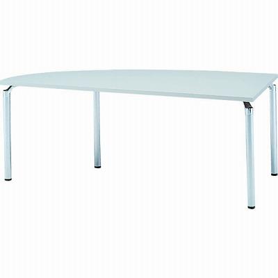 左変形会議テーブル 幅1800 奥行750 アルミダイキャストシルバー脚 ライトグレー天板