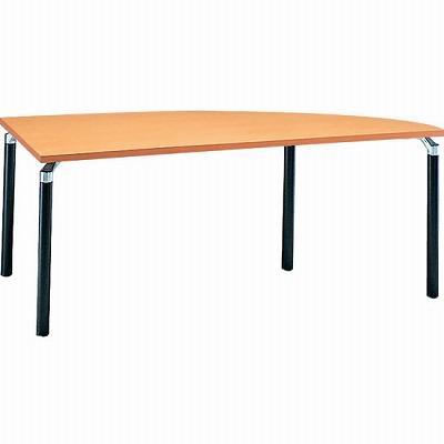 右変形会議テーブル 幅1800 奥行750 アルミダイキャストブラック脚 メープル天板