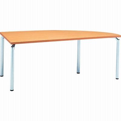 右変形会議テーブル 幅1800 奥行750 アルミダイキャストシルバー脚 メープル天板