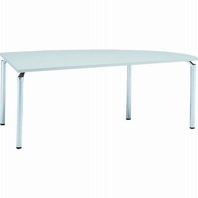 右変形会議テーブル 幅1800 奥行750 アルミダイキャストシルバー脚 ライトグレー天板