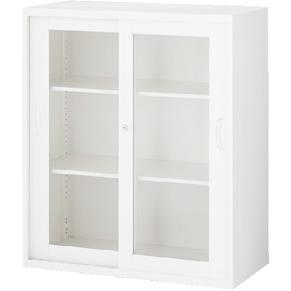 RW45-10SG ガラス引戸書庫 ホワイト
