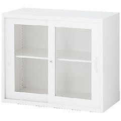 RW45-07SG ガラス引戸書庫 ホワイト