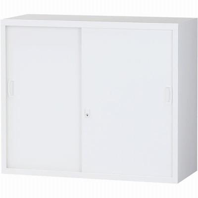 スチール引戸書庫 上置用 ホワイト 幅880×奥行380×高さ750mm