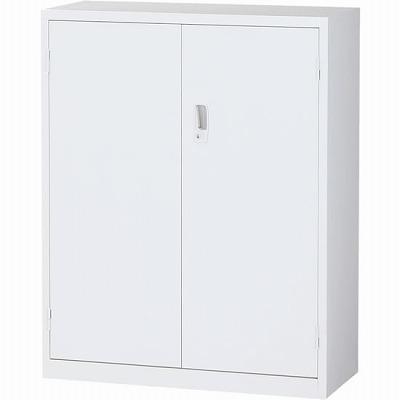 スチール両開き書庫 下置用 ホワイト 幅880×奥行380×高さ1110mm