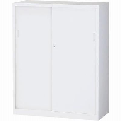 スチール引戸書庫 下置用 ホワイト 幅880×奥行380×高さ1110mm