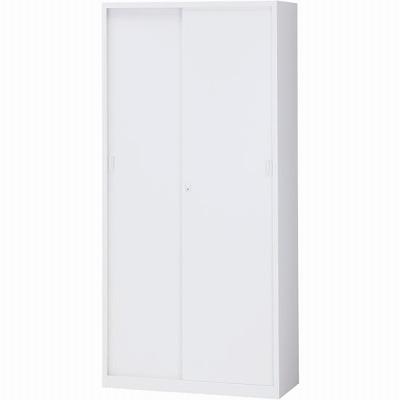 スチール引戸書庫 下置用 ホワイト 幅880×奥行380×高さ1860mm