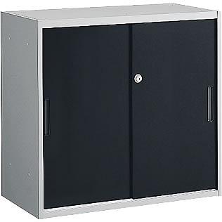 スチール引戸書庫(2枚) 上下兼用 ブラック/シルバー 幅800×奥行400×高さ750mm