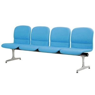 ロビーチェアー ブルー 幅1980mm 背もたれ付き 4人掛け