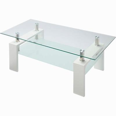 VGT-100(WH) ガラスリビングテーブル ホワイト