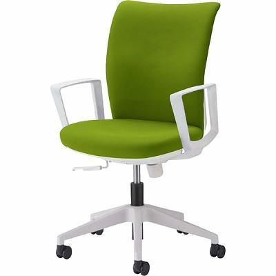オフィスチェア 「クレスタ」 布張り 肘付き(サークルアーム) グラスグリーン