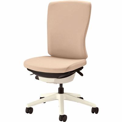 オフィスチェア 「バーサル」 布張り 肘無し ハイバック シェル:白/脚:白 サンドベージュ