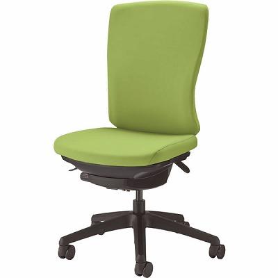オフィスチェア 「バーサル」 布張り 肘無し ハイバック シェル:黒/脚:黒 アップルグリーン