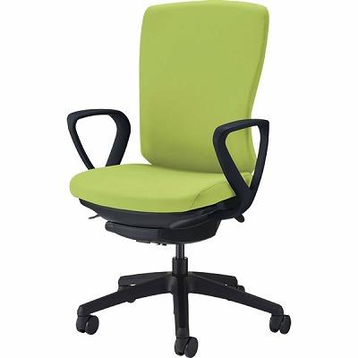 オフィスチェア 「バーサル」 布張り 肘付き(サークルアーム) ハイバック シェル:黒/脚:黒 アップルグリーン