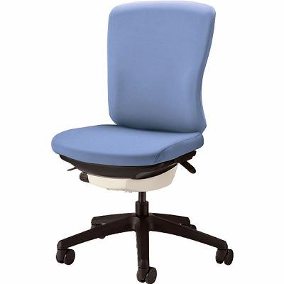 オフィスチェア 「バーサル」 布張り 肘無し ミドルバック シェル:白/脚:黒 アクアブルー