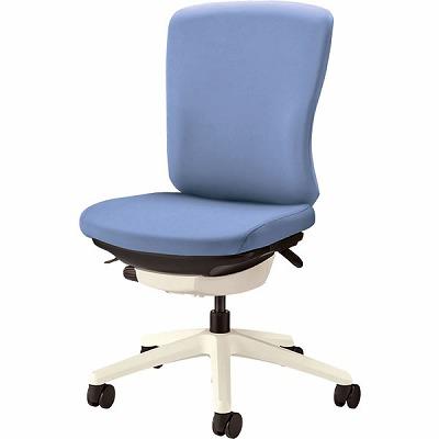 オフィスチェア 「バーサル」 布張り 肘無し ミドルバック シェル:白/脚:白 アクアブルー