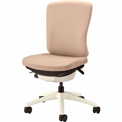 オフィスチェア 「バーサル」 布張り 肘無し ミドルバック シェル:白/脚:白 サンドベージュ