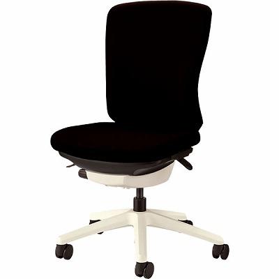 オフィスチェア 「バーサル」 布張り 肘無し ミドルバック シェル:白/脚:白 ブラック