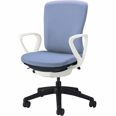 オフィスチェア 「バーサル」 布張り 肘付き(サークルアーム) ミドルバック シェル:白/脚:黒 アクアブルー