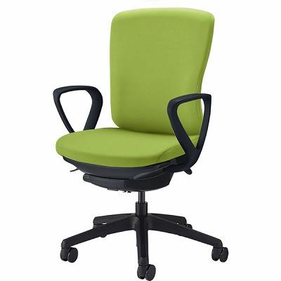 オフィスチェア 「バーサル」 布張り 肘付き(サークルアーム) ミドルバック シェル:黒/脚:黒 アップルグリーン