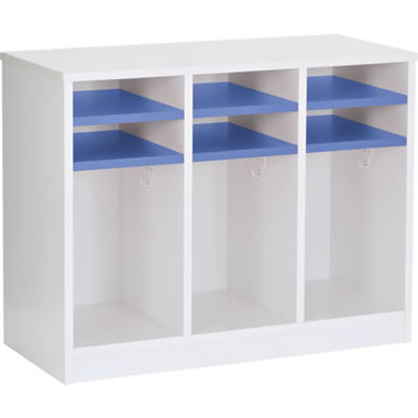 保育施設用ロッカー 上段棚付 6人用 ブルー