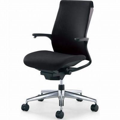 オフィスチェア 「M4」 固定肘付き ブラックシェル ブラック アルミ脚