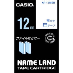 CASIO XR-12WEB スタンダードテープ 12mm 白 青文字
