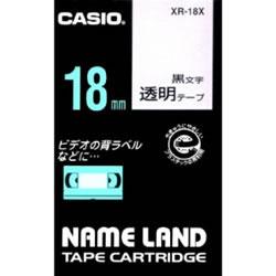 CASIO XR-18X スタンダードテープ 18mm 透明 黒文字