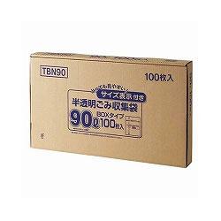 ジャパックス TBN90 容量表示入りポリ袋 乳白半透明 90L BOXタイプ