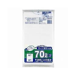 ジャパックス TSN70 半透明 容量表示入りゴミ袋 70L 10枚