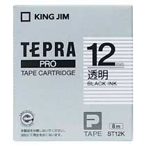 KINGJIM ST12K テプラ PROテープカートリッジ 12mm 透明/黒文字