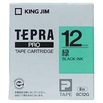 KINGJIM SC12G テプラ PROテープカートリッジ カラーラベル パステル 緑